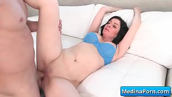 horny cock7 fucked gets by fat stepmom Brunette gets her throat fucked