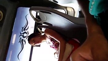 touch on to bus dickflash want she Crossdresser in little bra