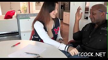 horny tutor teen Saki sex in office