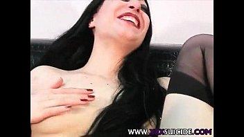 lick black stocking Lace and lingerie elegant lipstick whore moans as she masturbates